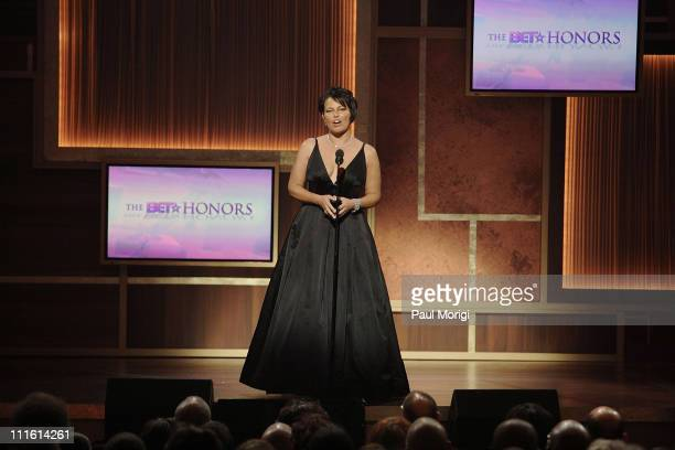 BET President Debra Lee presents onstage during the first annual BET Honors at the Warner Theater on January 12 2008 in Washington DC