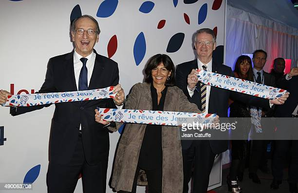 President Denis Masseglia Mayor of Paris Anne Hidalgo and President of Paris 2024 Bernard Lapasset attend the launch party for 'Je Reve Des Jeux' a...