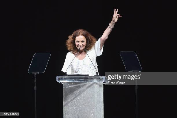 President Diane von Furstenberg speaks onstage during the 2017 CFDA Fashion Awards at Hammerstein Ballroom on June 5 2017 in New York City