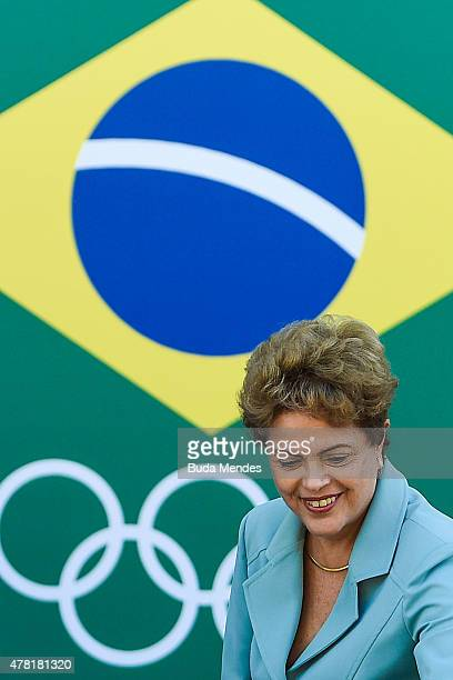 President Dilma Rousseff of Brazil looks on during the Olympic Day celebration and presentation of the Brazilian national team's mascot Ginga by the...
