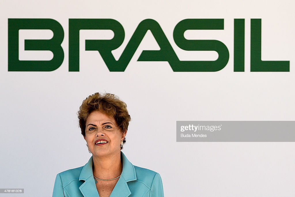 President Dilma Rousseff of Brazil looks on during the Olympic Day celebration and presentation of the Brazilian national team's mascot Ginga by the Brazilian Local Organizing Committee at Parque Aquatico Maria Lenk on June 23, 2015 in Rio de Janeiro, Brazil.