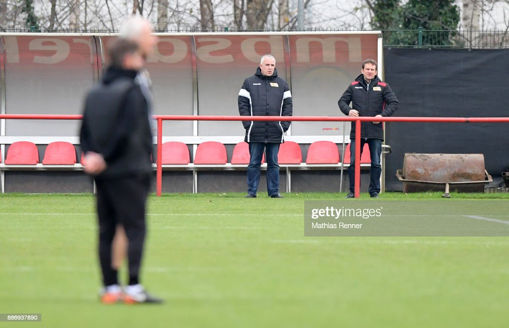 President Dirk Zingler and CEO Sport Lutz Munack of Union Berlin during the training session on December 6, 2017 in Berlin, Germany.