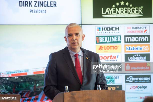 President Dirk Zingler of 1 FC Union Berlin during the press conference at Stadion an der alten Foersterei on May 15 2018 in Berlin Germany