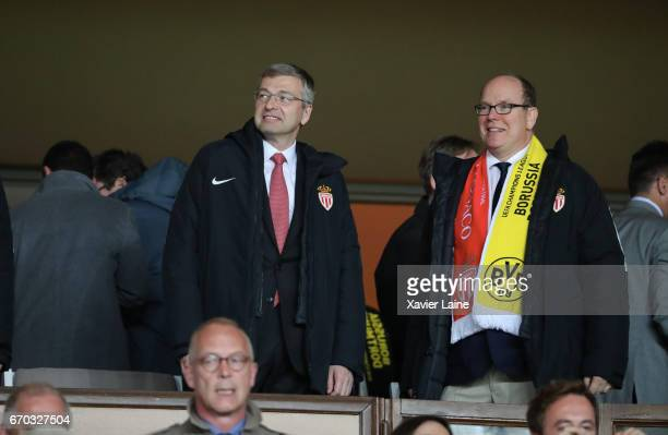 President Dmitri Rybolovlev and Prince Albert II of Monaco attend the UEFA Champions League Quarter Final second leg between AS Monaco and Borussia...