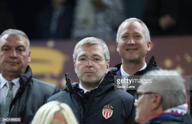 President Dmitri Rybolovlev of AS Monaco attend with Vadim Vasilyev the League Cup Final match between Paris SaintGermain and AS Monaco at Matmut...