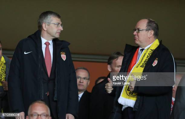 President Dmitri Rybolovlev react with Prince Albert II of Monaco attend the UEFA Champions League Quarter Final second leg between AS Monaco and...