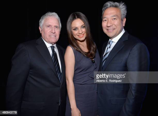 President Domestic Distribution Warner Bros Pictures Dan Fellman actress Mila Kunis and CEO of Warner Bros Entertainment Kevin Tsujihara attend...