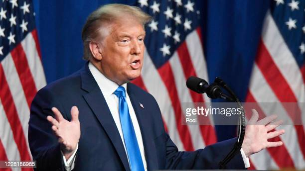 President Donald J. Trump addresses delegates on the first day of the Republican National Convention at the Charlotte Convention Center on August 24,...