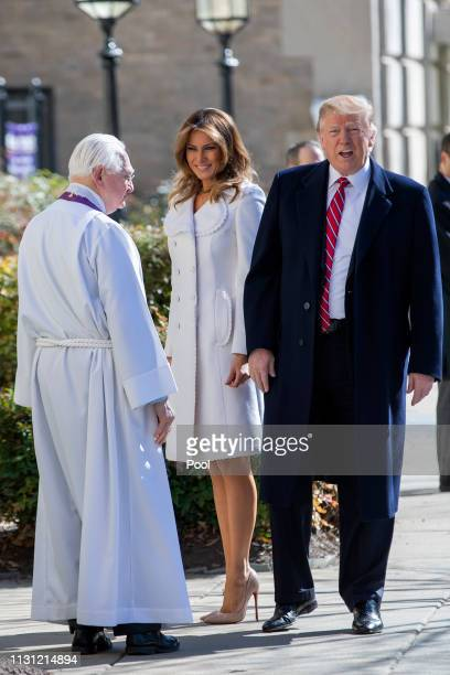 US President Donald J Trump and first lady Melania Trump are greeted by Reverend W Bruce McPherson as they arrive to attend services at St John's...