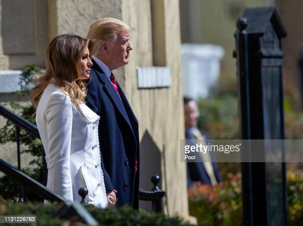 US President Donald J Trump and First Lady Melania Trump depart after attending services at St John's Episcopal Church March 17 2019 in Washington DC...
