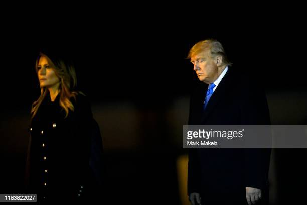 S President Donald J Trump and First Lady Melania Trump depart after attending dignified transfer for fallen service members US Army Chief Warrant...