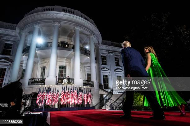 President Donald J. Trump and First Lady Melania Trump depart after President Trump spoke and accepted the nomination during the last night of the...