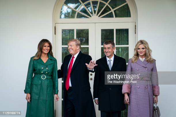 President Donald J Trump and First Lady Melania Trump welcome Prime Minister Andrej Babis and Mrs Monika Babisova of the Czech Republic outside the...