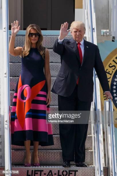 S President Donald J Trump and the first lady Melania Trump arrive at Hamburg Airport for the Hamburg G20 economic summit on July 6 2017 in Hamburg...