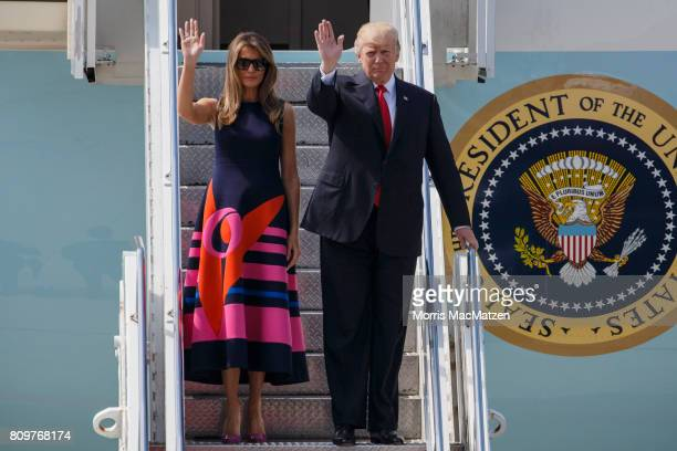 S President Donald J Trump and the first lady Melania Trump arrive at Hamburg Airport for the Hamburg G20 economic summit on July 6 2017 in Hamburg...