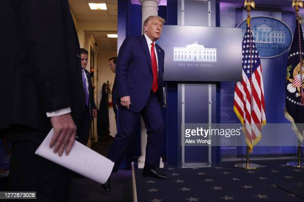 President Donald J. Trump arrives for a news conference in the James Brady Press Briefing Room of the White House on September 16, 2020 in...