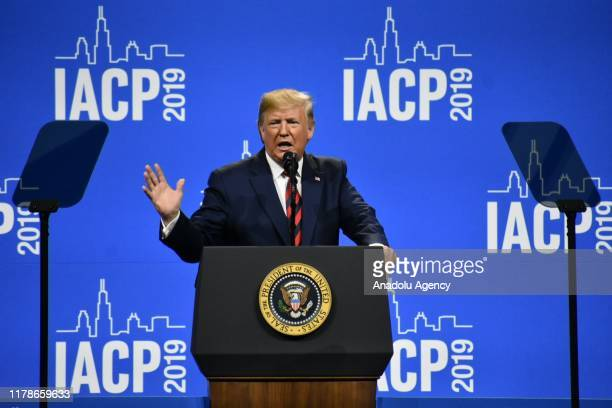 President Donald J Trump delivers remarks and signs an executive order at the International Association of Chiefs of Police Annual Conference and...