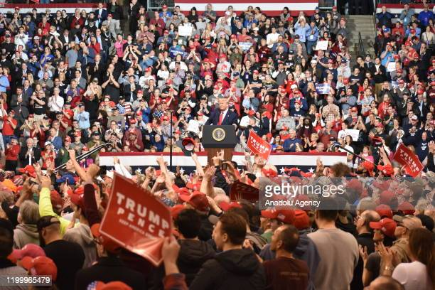 S President Donald J Trump delivers remarks at a Keep America Great Rally in Manchester New Hampshire United States on February 10 2020