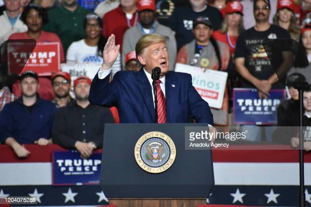 President Donald J. Trump delivers remarks at a Keep America Great Rally in North Charleston, South Carolina, United States on February 28, 2020.