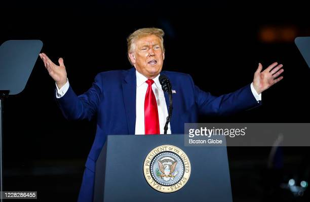 President Donald J. Trump delivers remarks live during a Trump Rally in Londonderry, NH on Aug. 28, 2020. Hundreds gathered to hear President Donald...