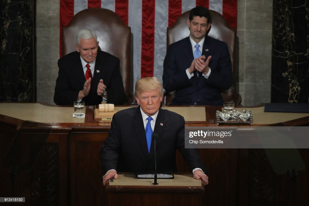U.S. President Donald J. Trump delivers the State of the Union address as U.S. Vice President Mike Pence (L) and Speaker of the House U.S. Rep. Paul Ryan (R-WI) (R) look on in the chamber of the U.S. House of Representatives January 30, 2018 in Washington, DC. This is the first State of the Union address given by U.S. President Donald Trump and his second joint-session address to Congress.