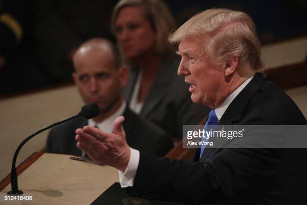 S President Donald J Trump delivers the State of the Union address in the chamber of the US House of Representatives January 30 2018 in Washington DC...