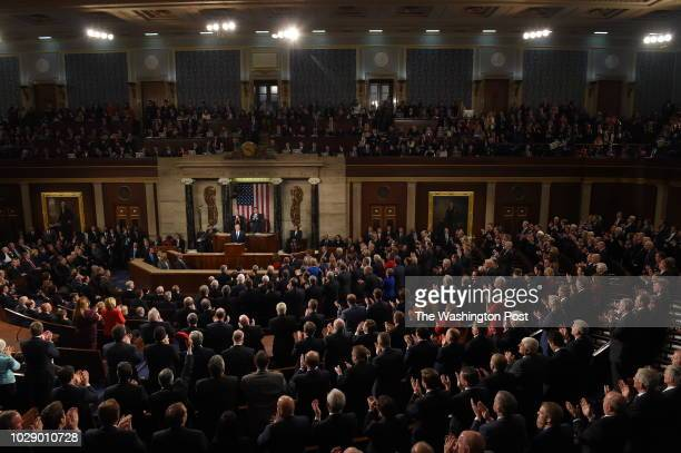 President Donald J Trump delivers the State of the Union speech before members of Congress in the House chamber of the US Capitol on January 30 2018...
