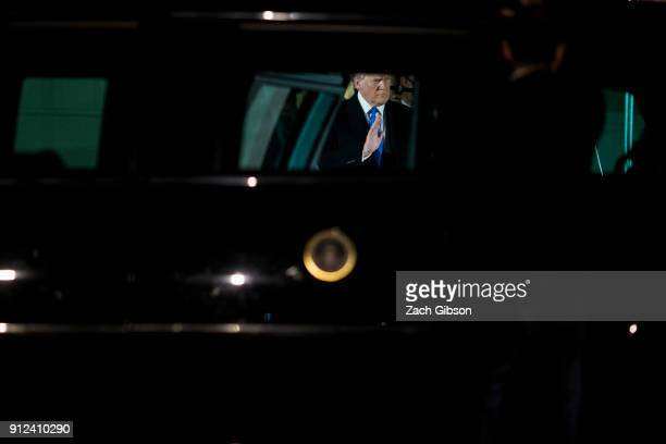 S President Donald J Trump departs from the White House residence before heading to Capitol Hill to deliver the 2018 State of the Union address on...