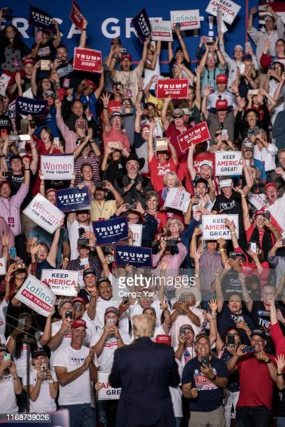"""President Donald J. Trump enters his """"Keep America Great Rally"""" on September 16, 2019 at the Santa Ana Star Center in Rio Rancho, New Mexico. The..."""