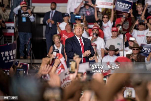 President Donald J. Trump enters his Keep America Great Rally on September 16, 2019 at the Santa Ana Star Center in Rio Rancho, New Mexico. The rally...