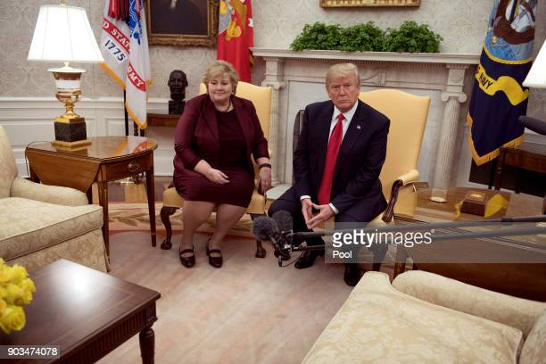 President Donald J Trump meets Prime Minister Erna Solberg of Norway in the Oval Office of the White House on January 10 2018 in Washington DC