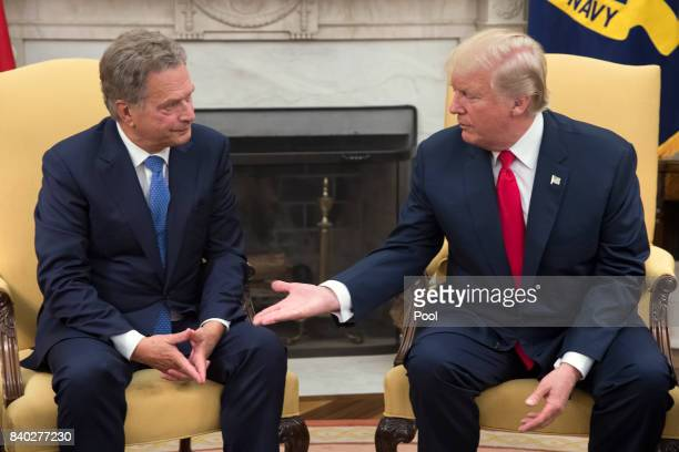 President Donald J Trump meets with President Sauli Niinisto of Finland in the Oval Office of the White House on August 28 2017 in Washington DC