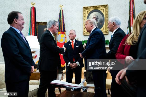 President Donald J Trump meets with Rep Jeff Van Drew of New Jersey Vice President Mike Pence and House Minority Leader Kevin McCarthy of Calif in...