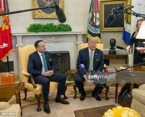 US President Donald J Trump meets with Taoiseach Leo Varadkar of Ireland at The White House March 15 2018 in Washington DC The Taoiseach is visiting...