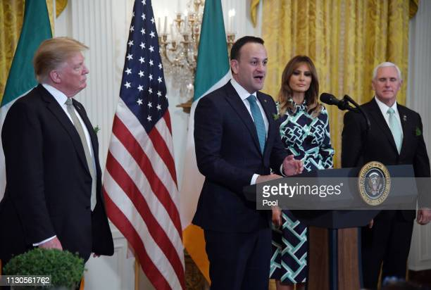 President Donald J Trump Prime Minister Leo Varadkar of Ireland first lady Melania Trump and US Vice President Mike Pence attend the Shamrock Bowl...
