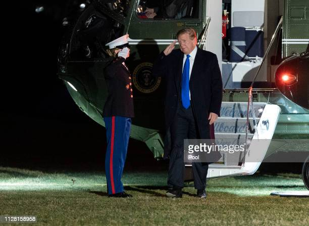 President Donald J Trump returns to the White House on February 28 2019 in Washington DC Trump is returning from a meeting in Vietnam with North...