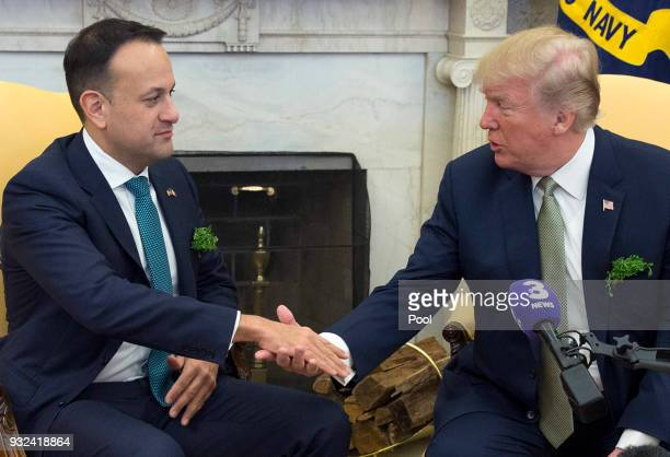 US President Donald J Trump shakes hands with Taoiseach Leo Varadkar of Ireland at The White House March 15 2018 in Washington DC The Taoiseach is...