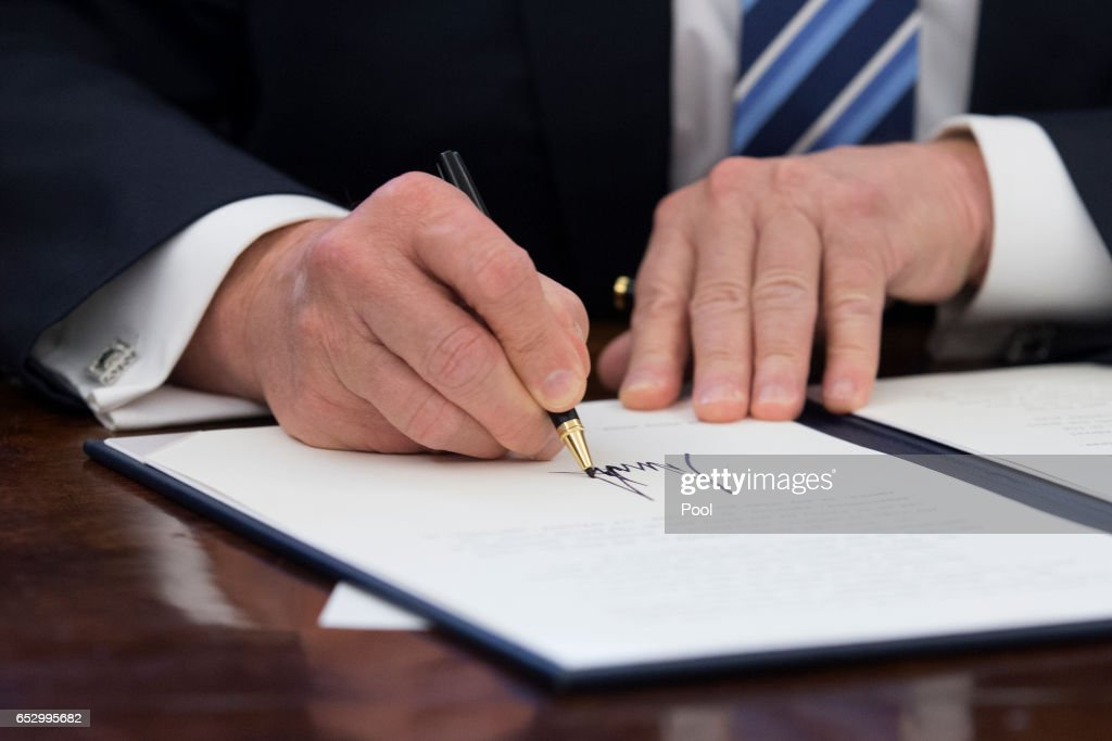 US President Donald J. Trump signs an executive order entitled, 'Comprehensive Plan for Reorganizing the Executive Branch', beside members of his Cabinet in the Oval Office of the White House on March 13, 2017 in Washington, DC.