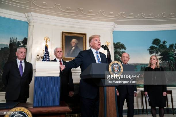 President Donald J Trump speaks after signing a ridiculous $13 trillion spending bill passed by Congress early Friday and averted a government...