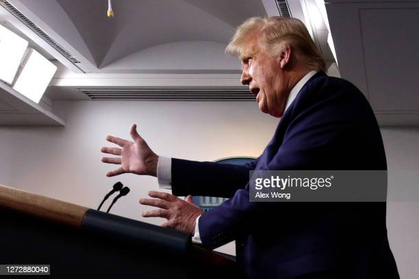 President Donald J. Trump speaks at a news conference in the James Brady Press Briefing Room of the White House on September 16, 2020 in Washington,...