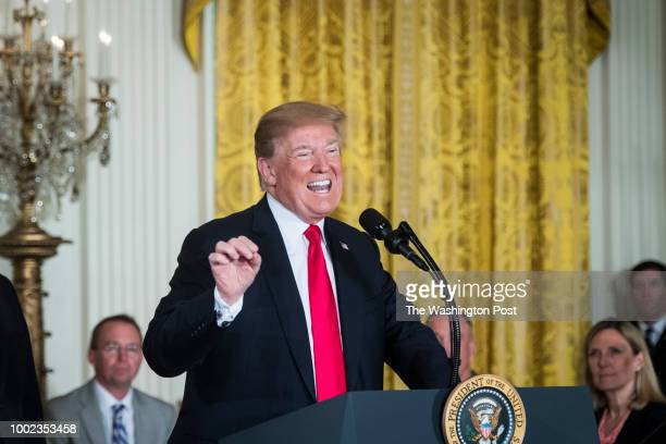 President Donald J Trump speaks before signing a Space Policy Directive during a National Space Council meeting in the East Room at the White House...