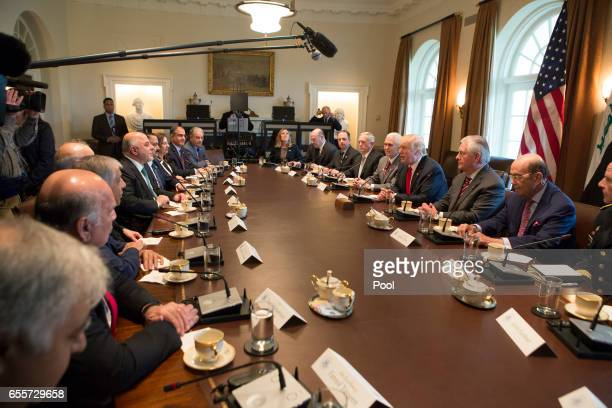 S President Donald J Trump speaks during a meeting with members of his Cabinet and Iraqi Prime Minister Haider alAbadi at the White House on March 20...