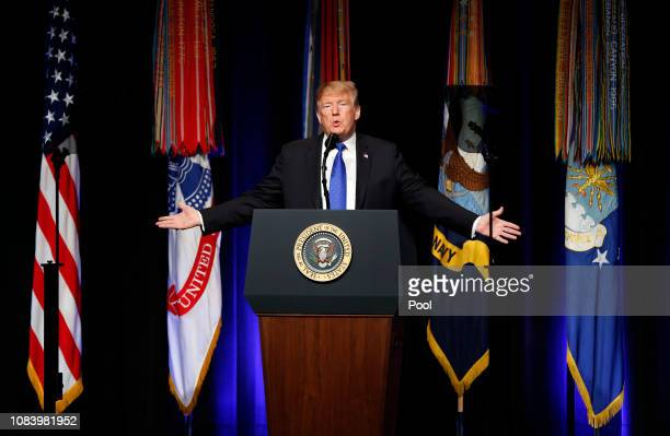 US President Donald J Trump speaks during a Missile Defense Review announcement on January 17 2019 at the Pentagon in Arlington Virginia Trump pushed...