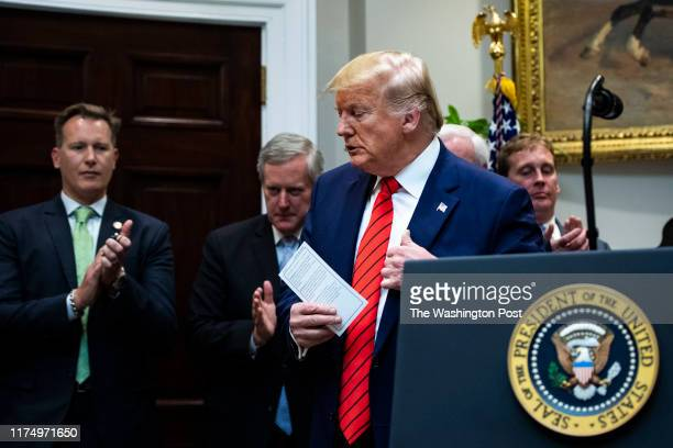 President Donald J Trump speaks during a signing ceremony for Executive Orders on transparency in Federal guidance and enforcement in the Roosevelt...