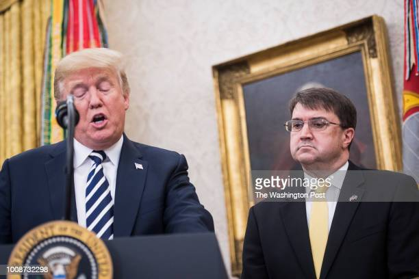 President Donald J Trump speaks during a swearingin ceremony for the new Secretary of the Department of Veterans Affairs Robert Wilkie in the Oval...