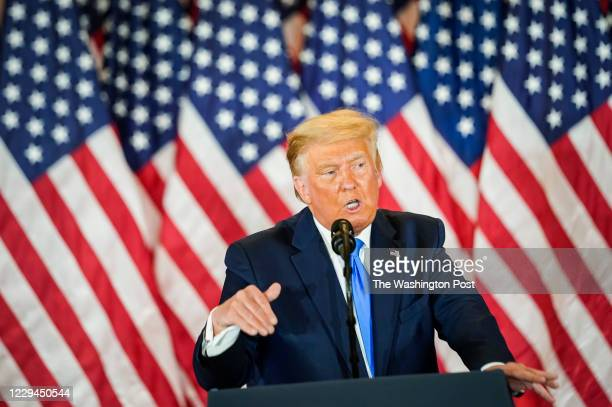 President Donald J. Trump speaks during an election event in the East Room at the White House in the early morning hours on November 4, 2020 in...