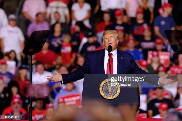 President Donald J Trump speaks during his campaign for the election next year in Manchester The current US president is travelling around the...
