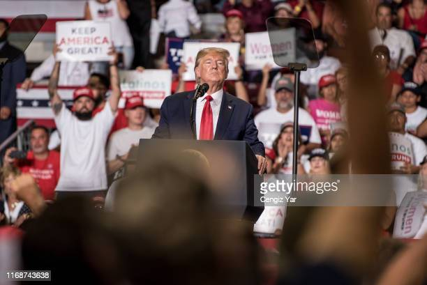President Donald J. Trump speaks during his Keep America Great Rally on September 16, 2019 at the Santa Ana Star Center in Rio Rancho, New Mexico....