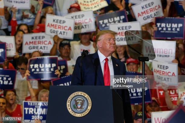 President Donald J. Trump speaks during the MAGA rally in Fayetteville.