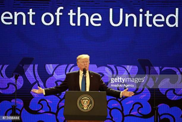 President Donald J Trump speaks on the final day of the APEC CEO Summit ahead of the AsiaPacific Economic Cooperation leaders summit in Danang...